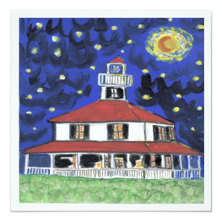 """New Orleans Lighthouse Lakefront 5.25"""" Square Invitation Card"""