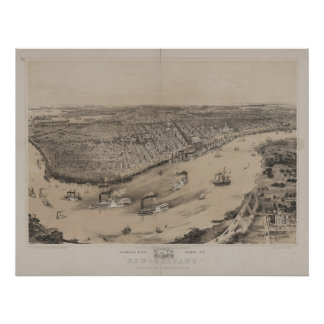 New Orleans Louisana 1851 Antique Panoramic Map Poster