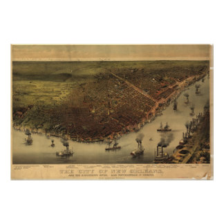 New Orleans Louisana 1885 Antique Panoramic Map Poster