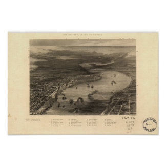 New Orleans Louisiana 1863 Panoramic Map Poster