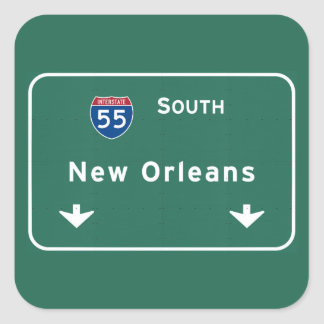 New Orleans Louisiana Interstate Highway Freeway : Square Sticker