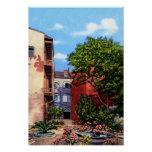 New Orleans Louisiana Old Courtyard with flowers Poster