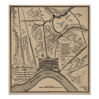 New Orleans Map 1798 Poster