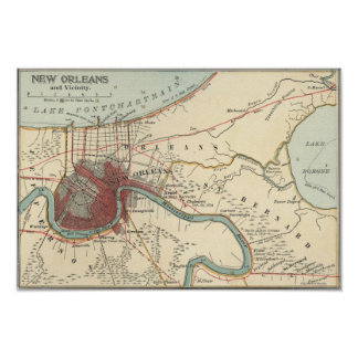 New Orleans MAp 1900 Poster