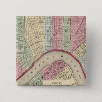 New Orleans Map by Mitchell 15 Cm Square Badge