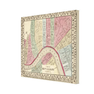 New Orleans Map by Mitchell Canvas Print