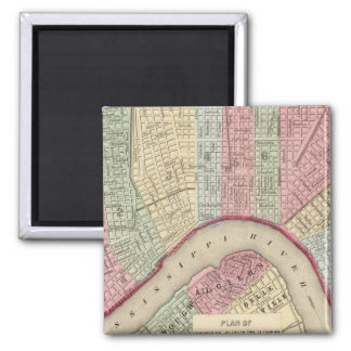 New Orleans Map by Mitchell Square Magnet