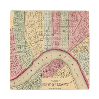 New Orleans Map by Mitchell Wood Coaster