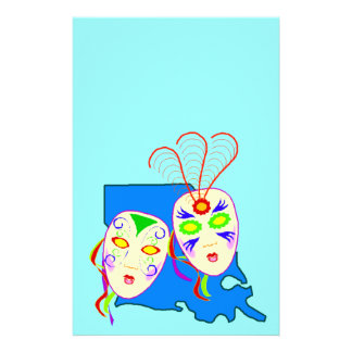 New Orleans Mardi Gras Fat Tuesday Mask Stationery