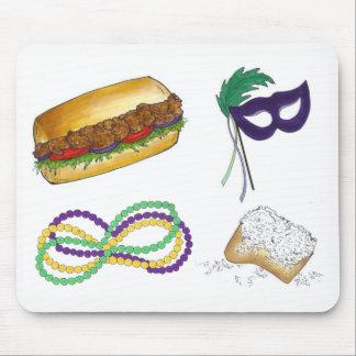 New Orleans Mardi Gras Mask Beads Beignet NOLA Mouse Mat