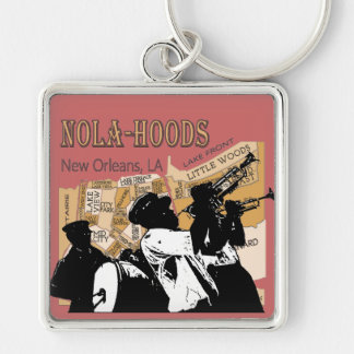 New Orleans Neighborhoods Brass Ban, NOLA_HOODS Silver-Colored Square Key Ring