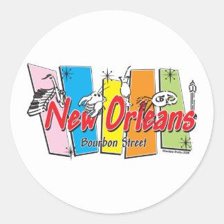 New-Orleans-Retro Classic Round Sticker