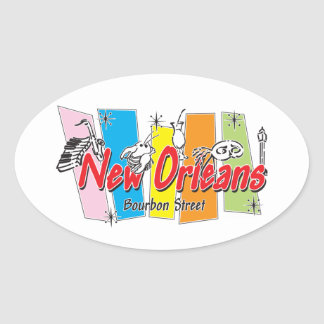 New Orleans Retro Look Oval Sticker