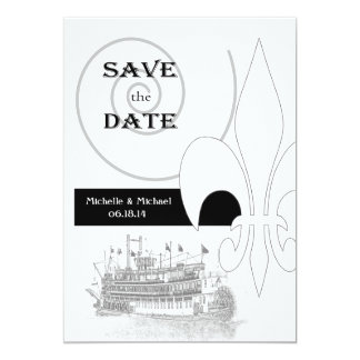 New Orleans Riverboat Fleur de Lis Save the Date Personalized Invites