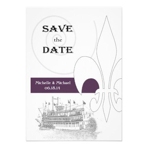 New Orleans Riverboat Fleur de Lis Save the Date Invites