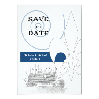 New Orleans Riverboat Fleur de Lis Save the Date Personalized Announcements