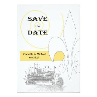 New Orleans Riverboat Fleur de Lis Save the Date Announcement