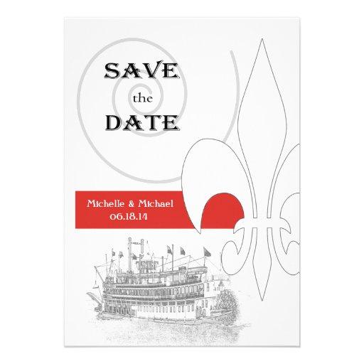 New Orleans Riverboat Fleur de Lis Save the Date Invitation
