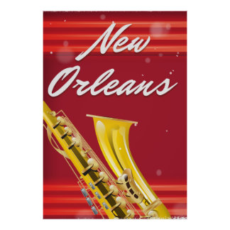 New Orleans Saxophone travel poster