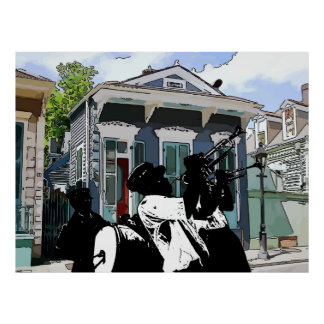 New Orleans Shotgun House and Brass Band Poster
