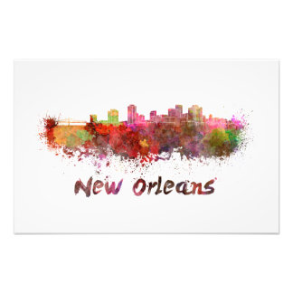 New Orleans skyline in watercolor Photo