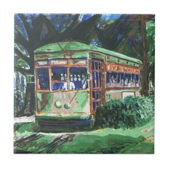 New Orleans St Charles Ave Streetcar Small Square Tile