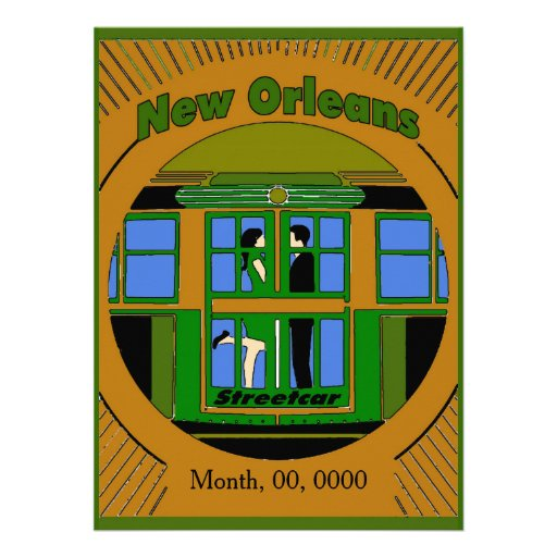 New Orleans Streetcar Art Deco Personalized Announcement