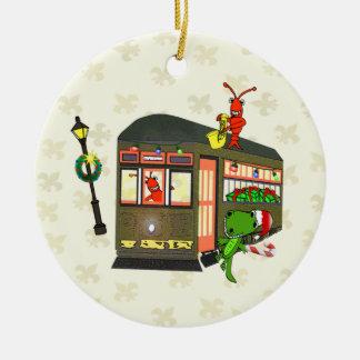 New Orleans Streetcar Crawfish Gator Ornament
