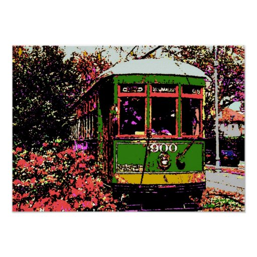 New Orleans Streetcar Fauvist Colours Poster