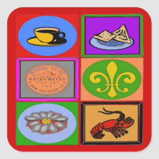 New Orleans Symbols French Quarter Square Sticker