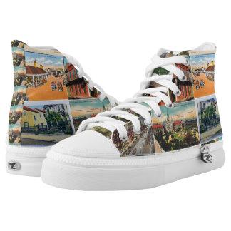 New Orleans Vintage Postcard High Top Sneaks Printed Shoes