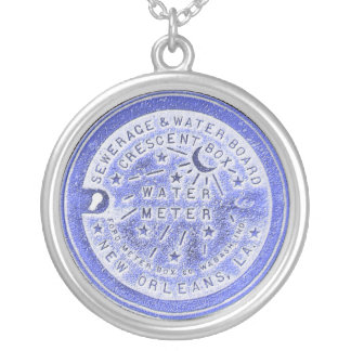New Orleans Water Meter Blue Silver Plated Necklace