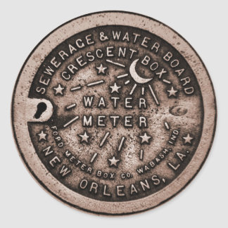 New Orleans Water Meter Cover Classic Round Sticker