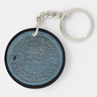New Orleans Water Meter photo Double-Sided Round Acrylic Key Ring