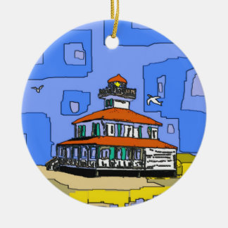 New Orleans West End Lighthouse Round Ceramic Decoration