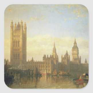New Palace of Westminster from the River Thames Square Sticker