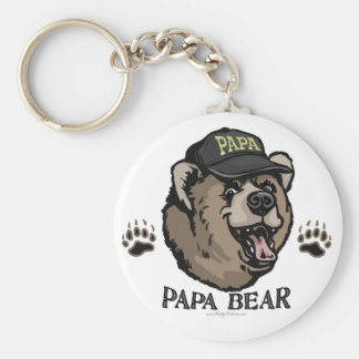New Papa Bear Father's Day Gear Basic Round Button Key Ring