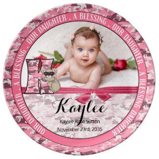 "New Parents Letter ""K"" Pink Camouflage Monogram Porcelain Plate"