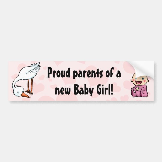 New parents of baby girl stork bumper sticker
