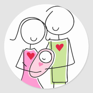 New Parents with Baby Girl - Round Stickers