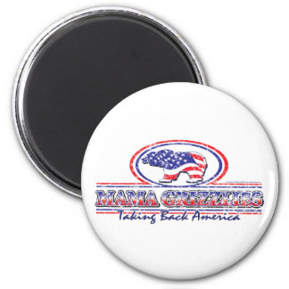 NEW-Patriotic-Grizzly 6 Cm Round Magnet