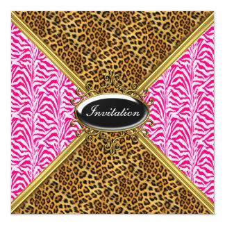 """New Pink Cougar Birthday Invitation 5.25"""" Square Invitation Card"""