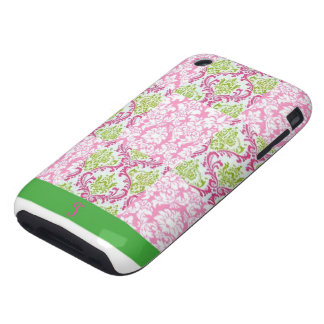 New Pink & Green Damask Pattern iPhone Cover Case Tough iPhone 3 Cover