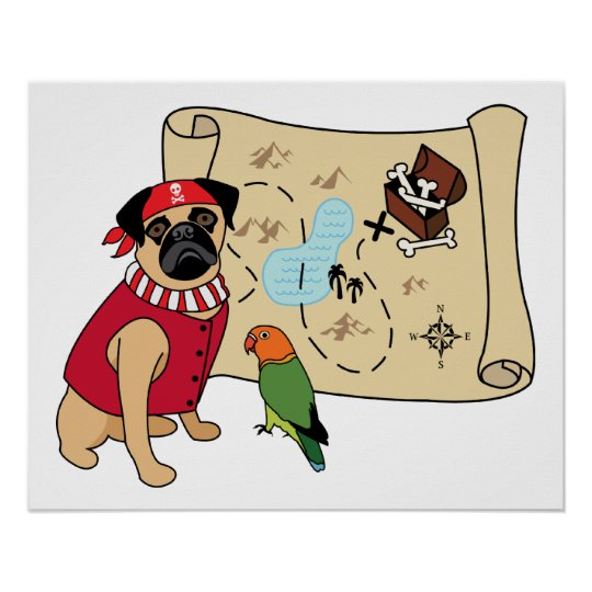 NEW!  Pirate Pug Design - Add your own caption. Poster