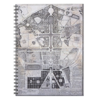 New Plan of the Town, Castle and Gardens at Versai Spiral Notebook