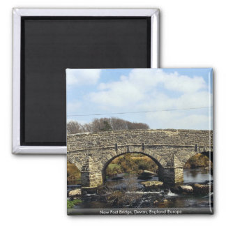 New Post Bridge, Devon, England Europe Square Magnet