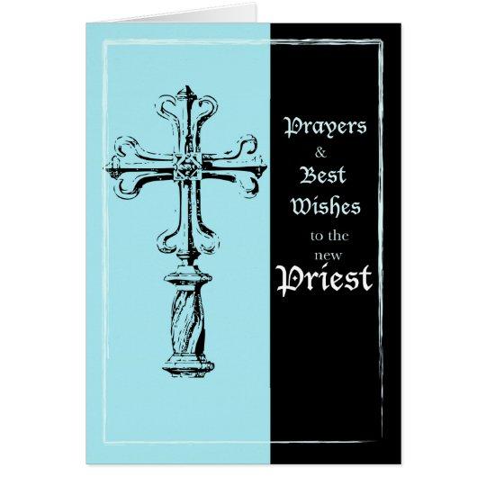 New Priest Ordination Congratulations Cross on Blu Card