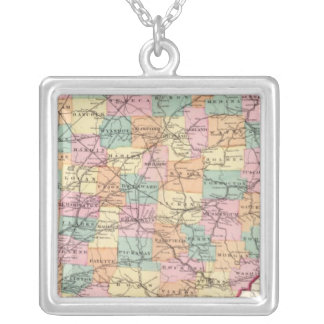 New rail road map of the State of Ohio Silver Plated Necklace