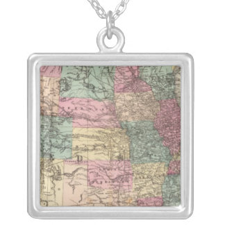 New rail road map of the United States Silver Plated Necklace