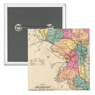 New railroad map of the states of Maryland 15 Cm Square Badge